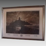 """Original Signed Etching of  Longfellow's """" The  Bridge """" by George McCord & John Henry Hill"""