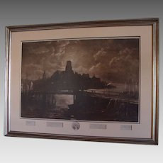 "Original Signed Etching of  Longfellow's "" The  Bridge "" by George McCord & John Henry Hill"