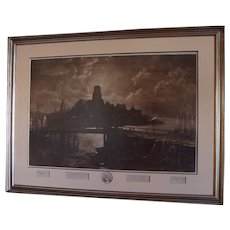 """Original 1887 Signed Etching of  Longfellow's """" The  Bridge """" by George McCord & John Henry Hill"""