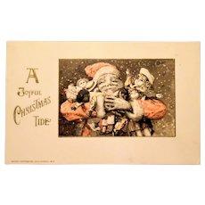 Adorable 1913 Santa and Dolls Winsch Postcard