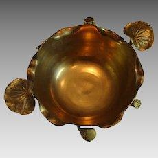"""Large Art Nouveau """" Water Lilies """" Brass Bowl"""