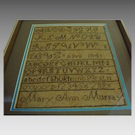 1841: Mary Ann Murray's School Sampler