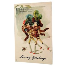 Peg Leg Dolls Christams Postcard