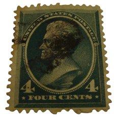 1883:  Rare Scott Stamp 211D 4c Deep Blue Green