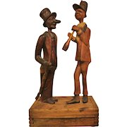 Circa 1900: Fabulous Folk Art Tobacco Box with Pipe Top Hats