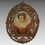 Antique; Miniature Masterpiece  Portrait of 17th Century Beauty