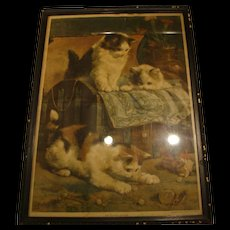 "1900: Original New York Sunday World Insert "" The Playful Kittens "" by Charles Van Den Eycken"