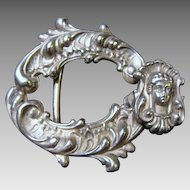 Art Nouveau: Codding Brothers & Heilborne Signed, Sterling Silver Belt Buckle