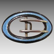 Victorian : William B. Kerr Sterling and Enameled Belt Buckle