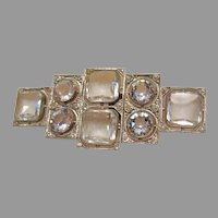 Art Deco: Czechoslovakia signed Rock Crystal Belt Buckle