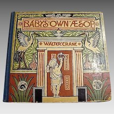 """1887 First Edition """" Baby's Own Aesop"""" by Walter Crane"""