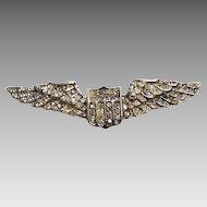 1940's: Sterling & Rhinestone Aviation Wings Brooch