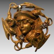 Art Nouveau; Gold Plated Watch Pin
