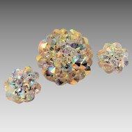 Vendome Aurora Borealis Rivolis Brooch and Earrings