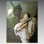 "Circa 1900: "" Claire de' Lune "" Original Etching with Pierrot"