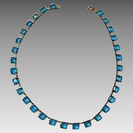 Circa 1925: Gorgeous Signed Czechoslovakia ,  Azure Blue Necklace.
