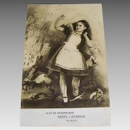 "Original Beryl Laverick Signed, "" Alice in Wonderland "" Postcard"