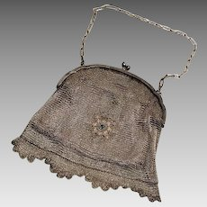 Victorian Sterling Silver Mesh Lace Work Purse