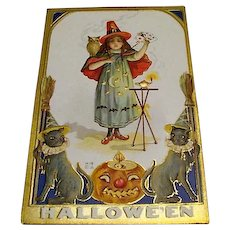 "Circa 1909: "" Little Witch Magic "" E. Nash Halloween Postcard"