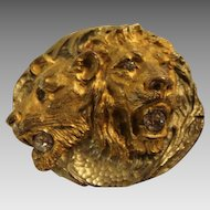 Majestic Golden Victorian Lion & Lioness Sash Brooch