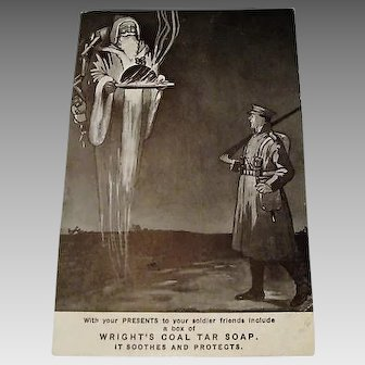 "Circa 1915:  WWI  Advertising Christmas Postcard "" Wright's Coal Tar Soap """