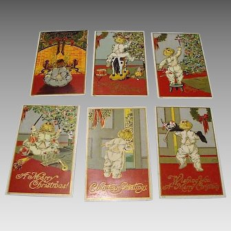"1909: Complete Set Christmas Postcards : "" Toddler & Toys"""