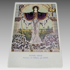 Original Art Nouveau Postcard of  Saint Odile of Alsace