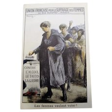 Circa 1905 : French Suffrage Poster Postcard * Profound Image *
