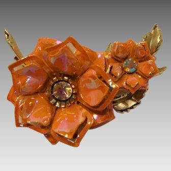 Cira 1960: Tangerine Ice Flower Brooch