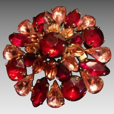 Stunning Vintage Ruby Red and Pretty Pink Brooch