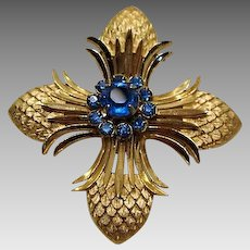"Crown Trifari Maltese Cross Brooch "" Pineapple """