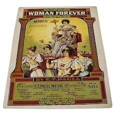 """1916: Rare Suffragist Sheet Music """" Women Forever """""""
