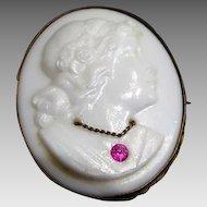 Victorian :Beautiful Jeweled Milk Glass Cameo Brooch