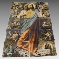 "Circa 1910: Installment Postcard Puzzle "" Devotion of the Scared Heart of Jesus """