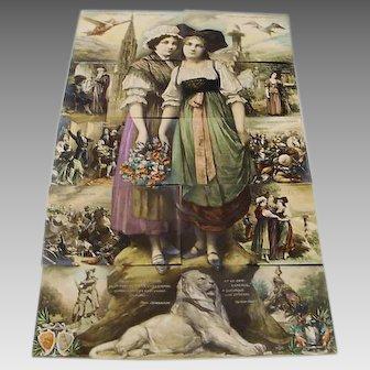 "Circa 1910: Complete installment Puzzle Postcard "" Alsace & Lorraine """