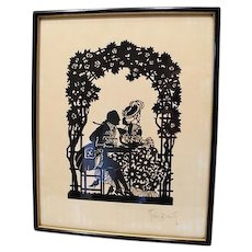 Circa 1910: Charming & Romantic Scherenschnitte Scene