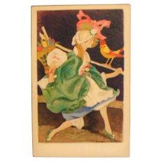 Lenci Doll Postcard by Marcello Dudovich