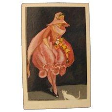 Art Deco Lenci Doll Postcard by Marcello  Dudovich