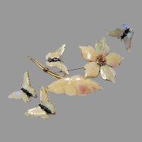Signed Oceans Treasures Mother of Pearl and Sterling Paure by Designer Battani