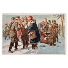 "Circa 1915: WW1 German Christmas Postcard "" Santa Visits the Troops """