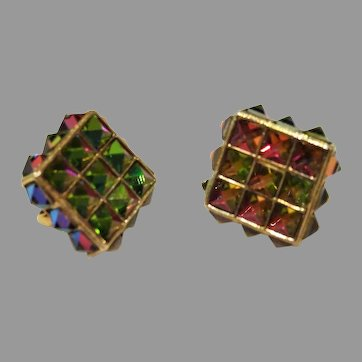 1960's: Vendome crystal Color Changing Pyramid Earrings