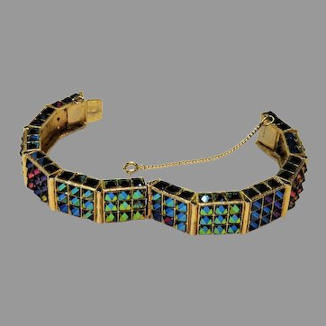 1960's: Extremely Rare Vendome Color Changing Pyramid Cuff Bracelet