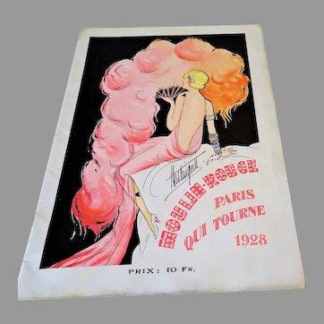 """1928: Original Risque """" Mistinguett """" Moulin Rouge Program"""