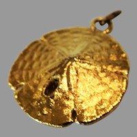 14K Gold Encased REAL Sand Dollar Charm or Pendant