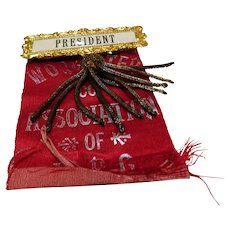 "1850 & 1851 :  Paulina Wright Davis, Suffrage Women's Rights Convention "" PRESIDENT "" Ribbon"