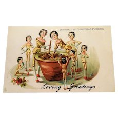 Peg Leg Dolls Postcard ' Stirring The Christmas Pudding ' Tucks
