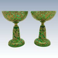 Moser Gold Encrusted Pair of Champagnes c. 1920