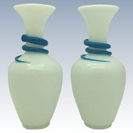 A rare pair of Saint Louis Opaline Vases with Turquoise Snakes circa 1860