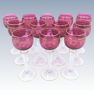 12 St. Louis Cranberry & Gold Hock Wine Glasses