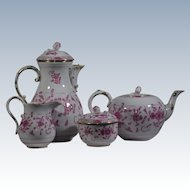Meissen Coffee & Tea Pots with Creamer & Sugar Bowl